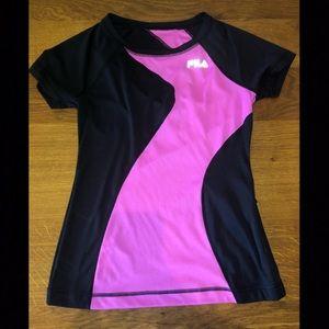 Fila Black and Pink Athletic Shirt XS